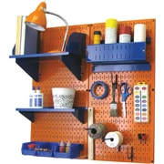 Wall Control Craft Center Pegboard Organizer Kit, Orange Tool Board and Blue Accessories