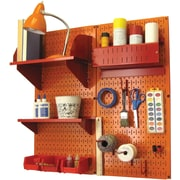 Wall Control Craft Center Pegboard Organizer Kit, Orange Tool Board and Red Accessories