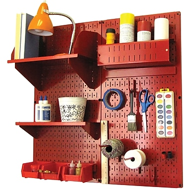 Wall Control Craft Center Pegboard Organizer Kit, Red Tool Board and Red Accessories