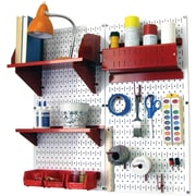 Wall Control Craft Center Pegboard Organizer Kit, White Tool Board and Red Accessories
