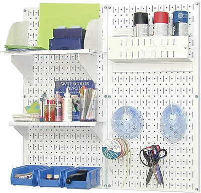 Wall Control Craft Center Pegboard Organizer Kit, White Tool Board and White Accessories