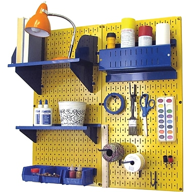 Wall Control Craft Center Pegboard Organizer Kit, Yellow Tool Board and Blue Accessories