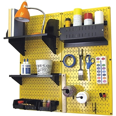 Wall Control Craft Center Pegboard Organizer Yellow Tool Board and Accessories Kit