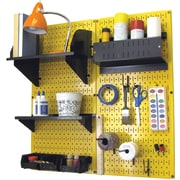Wall Control Craft Center Pegboard Organizer Kit, Yellow Tool Board and Black Accessories