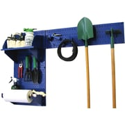 Wall Control Garden Tool Storage Organizer Pegboard Kit, Blue Tool Board and Blue Accessories