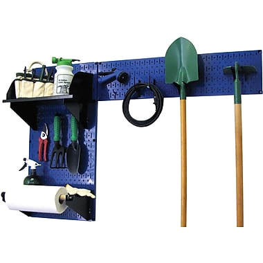 Wall Control Garden Tool Storage Organizer Pegboard Kit, Blue Tool Board and Black Accessories