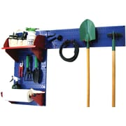 Wall Control Garden Tool Storage Organizer Pegboard Kit, Blue Tool Board and Red Accessories