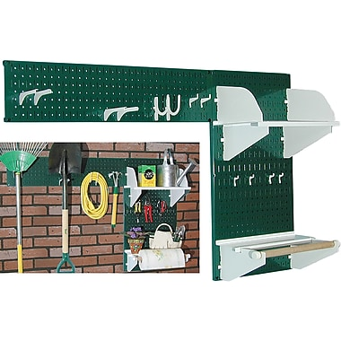 Wall Control Garden Tool Storage Organizer Pegboard Kit, Green Tool Board and White Accessories