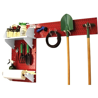 Wall Control Garden Tool Storage Organizer Pegboard Kit, Red Tool Board and White Accessories