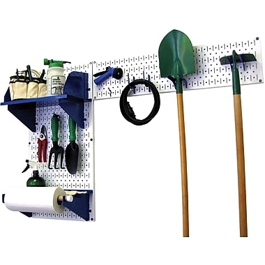 Wall Control Garden Tool Storage Organizer Pegboard Kit, White Tool Board and Blue Accessories
