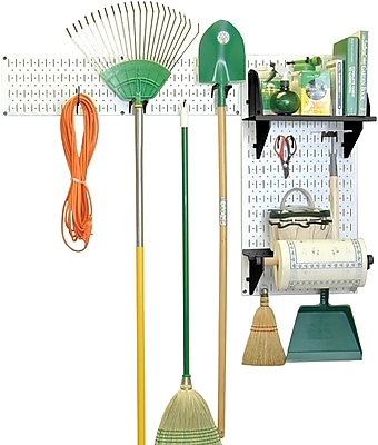 Wall Control Garden Tool Storage Organizer Pegboard Kit, White Tool Board and Black Accessories