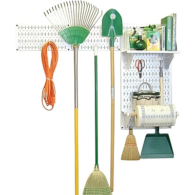 Wall Control Garden Tool Storage Organizer Pegboard Kit, White Tool Board and White Accessories