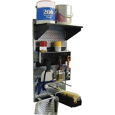 Wall Control Metal Pegboard Paint Supply Storage Kit, Galvanized Tool Board and Black Accessories