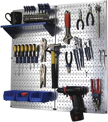 Wall Control Metal Pegboard Utility Tool Storage Kit, Galvanized Pegboard and Blue Accessories