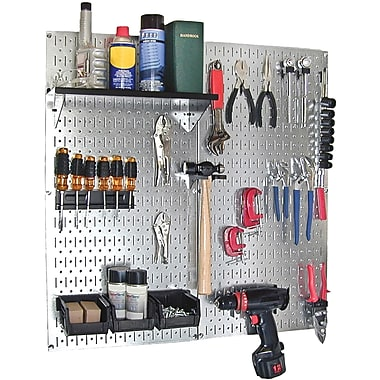 Wall Control Metal Pegboard Utility Tool Storage Kit, Galvanized Pegboard and Black Accessories