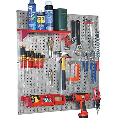 Wall Control Metal Pegboard Utility Tool Storage Kit, Galvanized Pegboard and Red Accessories