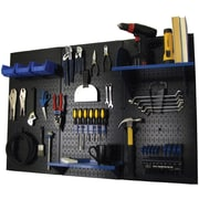 Wall Control 4' Metal Pegboard Standard Workbench Kit, Black Tool Board and Blue Accessories