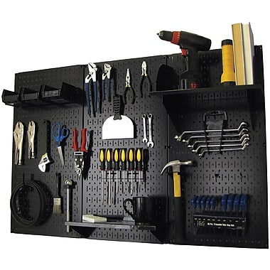 Wall Control 4' Metal Pegboard Standard Workbench Kit, Black Tool Board and Black Accessories