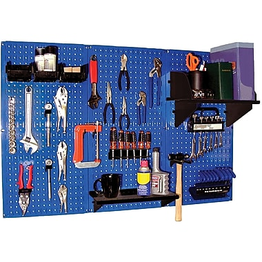Wall Control 4' Metal Pegboard Standard Workbench Blue Tool Board and Accessories Kit