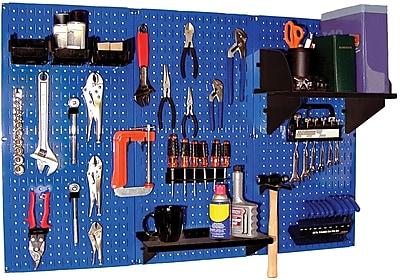 Wall Control 4' Metal Pegboard Standard Workbench Kit, Blue Tool Board and Black Accessories