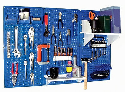 Wall Control 4' Metal Pegboard Standard Workbench Kit, Blue Tool Board and White Accessories