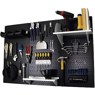 Wall Control 4' Metal Pegboard Standard Workbench Kit, Black Tool Board and White Accessories