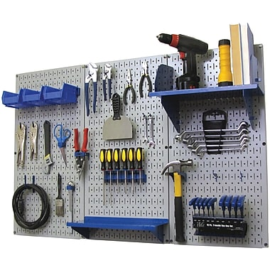 Wall Control 4' Metal Pegboard Standard Workbench Gray Tool Board and Accessories Kit