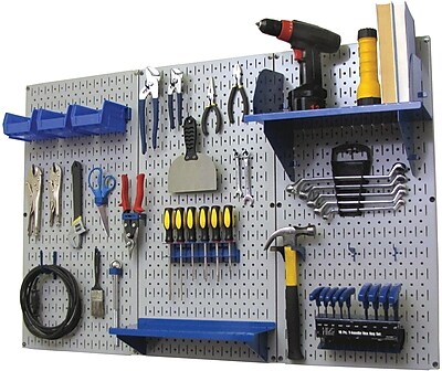Wall Control 4' Metal Pegboard Standard Workbench Kit, Gray Tool Board and Blue Accessories