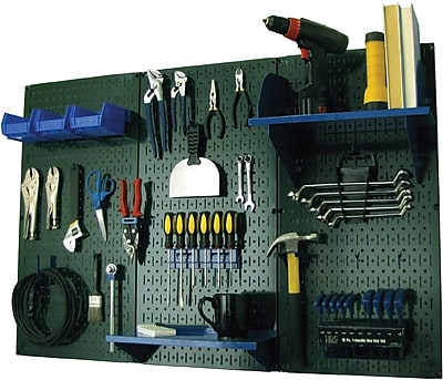 Wall Control 4' Metal Pegboard Standard Workbench Kit, Green Tool Board and Blue Accessories