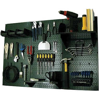 Wall Control 4' Metal Pegboard Standard Workbench Kit, Green Tool Board and Black Accessories