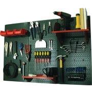 Wall Control 4' Metal Pegboard Standard Workbench Kit, Green Tool Board and Red Accessories