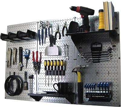 Wall Control 4' Metal Pegboard Standard Workbench Kit, Galvanized Tool Board and Black Accessories