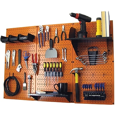 Wall Control 4' Metal Pegboard Standard Workbench Kit, Orange Tool Board and Black Accessories