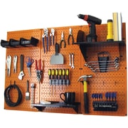Wall Control 4' Metal Pegboard Standard Workbench Kit, Orange Tool Board and Black Accessories