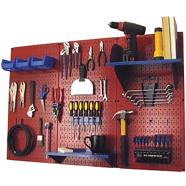 Wall Control 4' Metal Pegboard Standard Workbench Kit, Red Tool Board and Blue Accessories