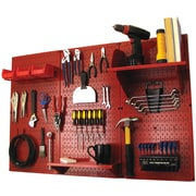 Wall Control 4' Metal Pegboard Standard Workbench Kit, Red Tool Board and Red Accessories