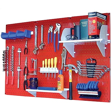 Wall Control 4' Metal Pegboard Standard Workbench Kit, Red Tool Board and White Accessories