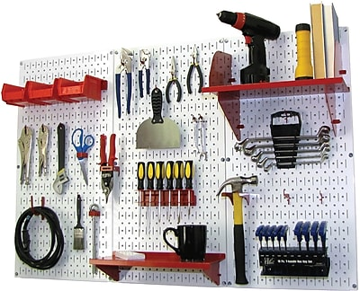 Wall Control 4' Metal Pegboard Standard Workbench Kit, White Tool Board and Red Accessories