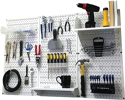 Wall Control 4' Metal Pegboard Standard Workbench Kit, White Tool Board and White Accessories