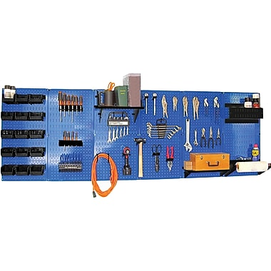 Wall Control 8' Metal Pegboard Master Workbench Kit, Blue Tool Board and Black Accessories