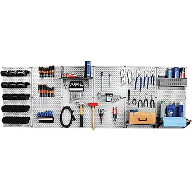 Wall Control 8' Metal Pegboard Master Workbench Kit, Gray Tool Board and Black Accessories
