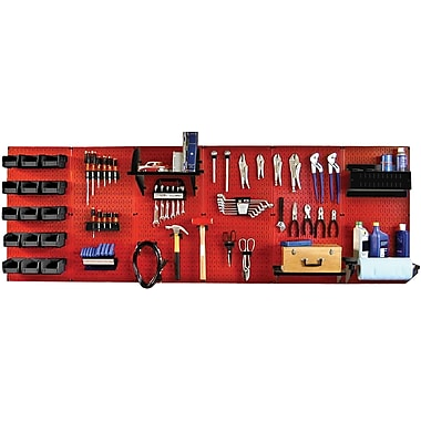 Wall Control 8' Metal Pegboard Master Workbench Kit, Red Tool Board and Black Accessories