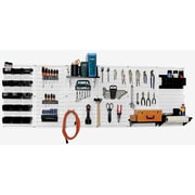 Wall Control 8' Metal Pegboard Master Workbench Kit, White Tool Board and Black Accessories