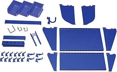 Wall Control Slotted Tool Board Workstation Accessory Kit, Blue