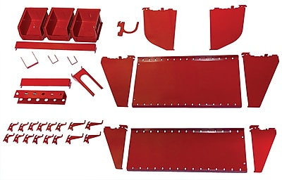 Wall Control Slotted Tool Board Workstation Accessory Kit, Red