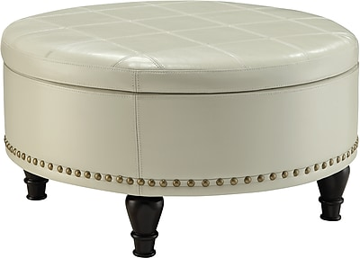 Inspired by Bassett Augusta Round Storage Ottoman Cream Eco