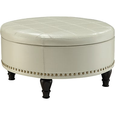 Inspired by Bassett Augusta Round Storage Ottoman, Cream Eco Leather