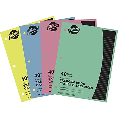 Hilroy - Cahier d'exercice , 3 trous, 10 7/8 po x 8 3/8 po, 40 pages