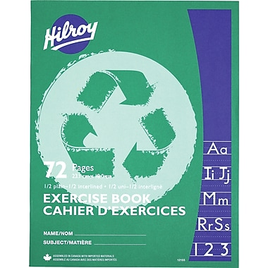 Hilroy® - Cahier d'exercices, ordinaire 1/2, à interligne 1/2, 9 1/8 po x 7 1/8 po, 72 pages