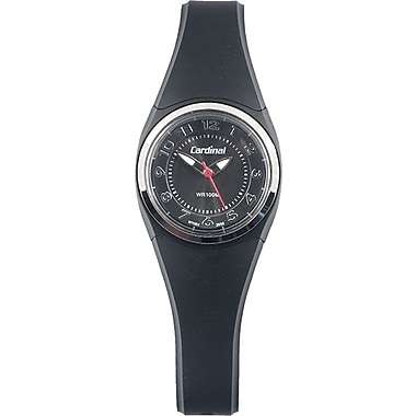 Cardinal Ladies Analog Watch, Black Plastic Case With Black Plastic Strap